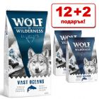 12 + 2 подарък! 14 кг Wolf of Wilderness суха храна