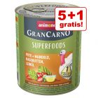 5 + 1 gratis! 6 x 800 g Animonda GranCarno Adult Superfoods
