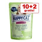 10 + 2 gratis! 12 x 85 g Happy Cat Buste