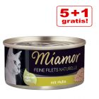 5 + 1 gratis! 6 x 80 g Miamor Feine Filets Naturelle
