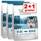2 + 1 gratis! 3 x 1 kg Wolf of Wilderness tørfoder