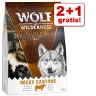 2 + 1 gratis! 3 x 1 kg Wolf of Wilderness Trockenfutter
