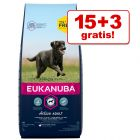 15 + 3 kg gratis! 18 kg Eukanuba Adult și Puppy Large / Medium Breed