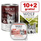 10 + 2 på köpet! 12 x 300 g/ 400 g Wolf of Wilderness våtfoder