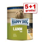 5 + 1 på köpet! 6 x 800 g Happy Dog pure