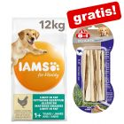 12 kg IAMS for Vitality Dog + 75 g 8in1 Delights Kausticks Rind gratis!