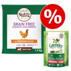 1,4 kg Nutro Grain Free + Greenies kornfri snacks til særpris!