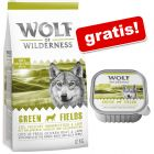 12 kg Wolf of Wilderness + Green Fields - jagnięcina, 6 x 300 g gratis!