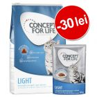 30 lei reducere! 3 kg Concept for Life Light + 12 x 85 g Light