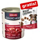 24 x 800 g Animonda GranCarno Adult + 80 g Meat Chunks Rind pur Snacks gratis!