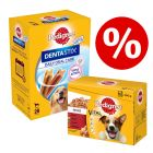 96 x 100 g Pedigree Pouch Mix + 28 st Dentastix Large till lågpris!