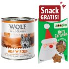 6 x 800 g Wolf of Wilderness + 50 g Xmas Snack Pollo con Carota gratis!