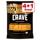 5 x 750g Crave Adult Dry Cat Food - 4 + 1 Free!*