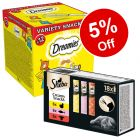 12 x 60g Dreamies Variety Snack Box + 18 x 12g Sheba Snacks - 5% Off!*