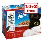 12 x 100g Felix Pouches Wet Cat Food - 10 + 2 Free!*