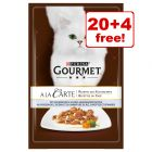 24 x 85g Gourmet A La Carte Wet Cat Food - 20 + 4 Pouches Free!*