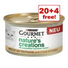24 x 85g Gourmet Nature's Creations Cat Food - 20 + 4 Free!*