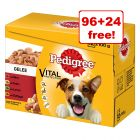 120 x 100g Pedigree Wet Dog Food Multipack Pouches - 96 + 24 Free!*