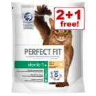 3 x 750g Perfect Fit Dry Cat Food - 2 + 1 Free!*