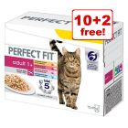 12 x 85g Perfect Fit Wet Cat Food Pouches - 10 + 2 Free!*