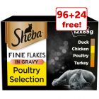 120 x 85g Sheba Pouches/Trays Wet Cat Food - 96 + 24 Free!*