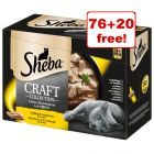 96 x 85g Sheba Pouches/Trays Wet Cat Food - 76 + 20 Free!*