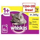 144 x 100g Whiskas Wet Cat Food Pouches - 124 + 20 Free!*