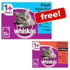 96 x 85g/100g Whiskas Pouches + 24 x 100g Whiskas Selection in Gravy Free!*