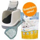 Набор для гигиены кошачьего туалета: лоток, наполнитель и совок по выгодной цене!