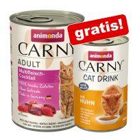 Animonda Carny Adult, 24 x 400 g + Carny Cat Drink, kurczak, 140 ml gratis!