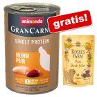 """Animonda GranCarno Adult Single Protein 6 x 400 g + Rosie's Farm Snacks """"Mini Steak Bites"""" Pui"""