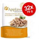 Applaws aszpikban tasakban gazdaságos csomag 32 x 70 g