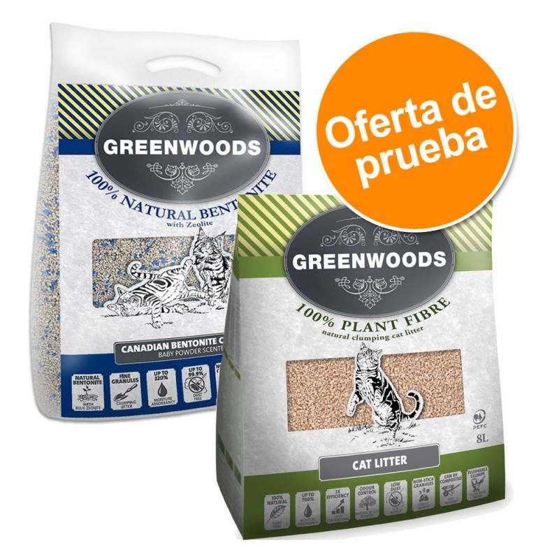 Arena Greenwoods vegetal y bentonita en tamaño de prueba
