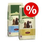 Blandat ekonomipack: 2 x 15 kg James Wellbeloved hundfoder