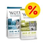 Blandat dubbelpack: 2 x 12 kg Wolf of Wilderness hundmat