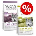 Blandat ekonomipack: 2 x 12 kg Wolf of Wilderness hundmat