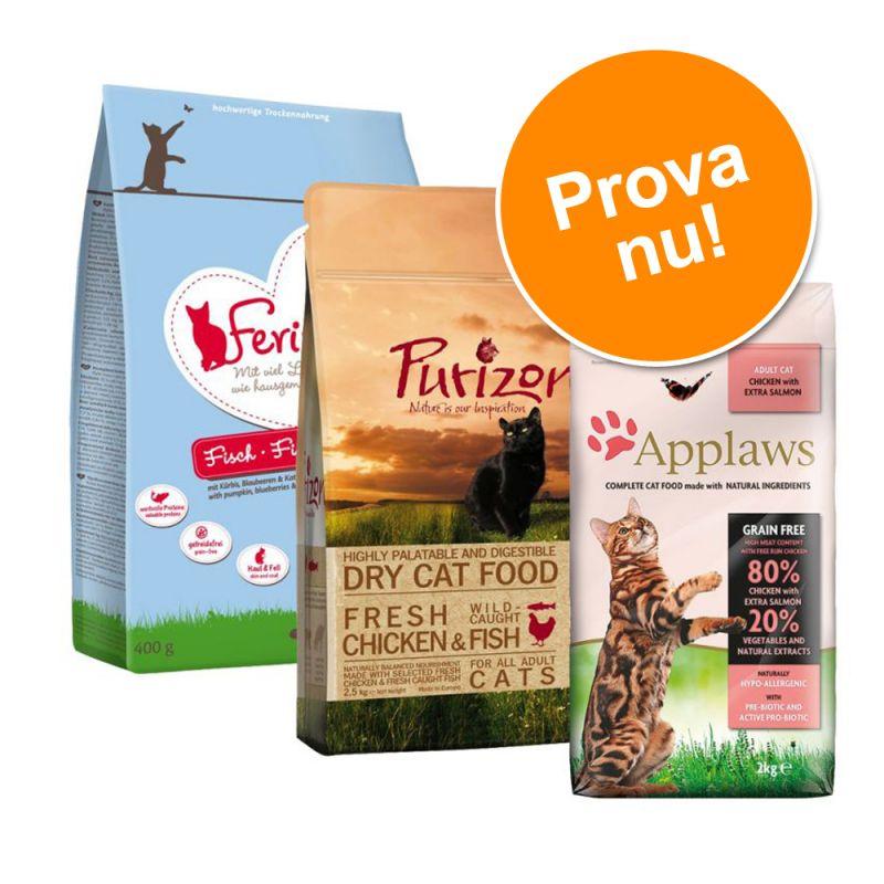Blandat provpack: 3 x 400 g Applaws, Feringa och Purizon katt-torrfoder