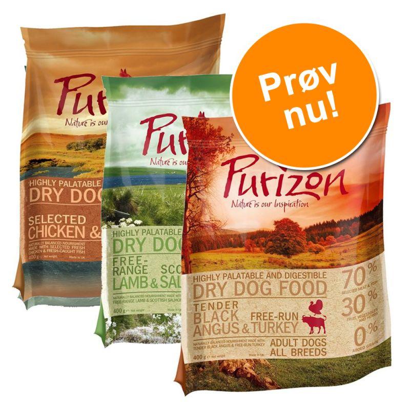 Blandet prøvepakke: 3 x Purizon hundetørfoder