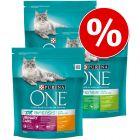Blandpack: 3 x 800 g Purina ONE torrfoder för katt
