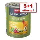 Boîtes Animonda GranCarno Adult Superfoods 5 x 800 g + 1 boîte offerte !