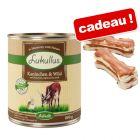 Boîtes Lukullus 12 x 800 g + 2 Os à mâcher de 10 cm, poulet en cadeau !