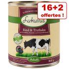 Boîtes Lukullus 16 x 800 g pour chien + 2 boîtes offertes !