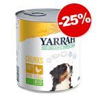 Boîtes Yarrah Bio Chunks 6 x 820 g pour chien : 25 % de remise !