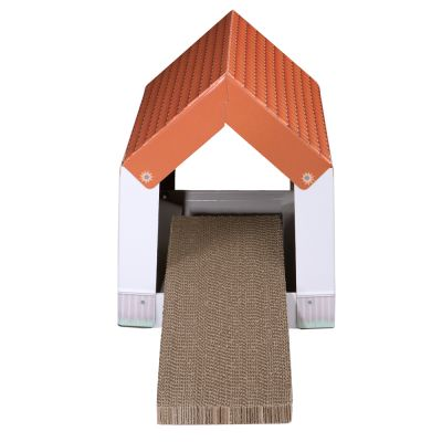 Casita de cartón Home XL con bloque rascador para gatos