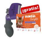 Cepillo FURminator deShedding para gatos + 12 x 85 g sobres IAMS ¡gratis!