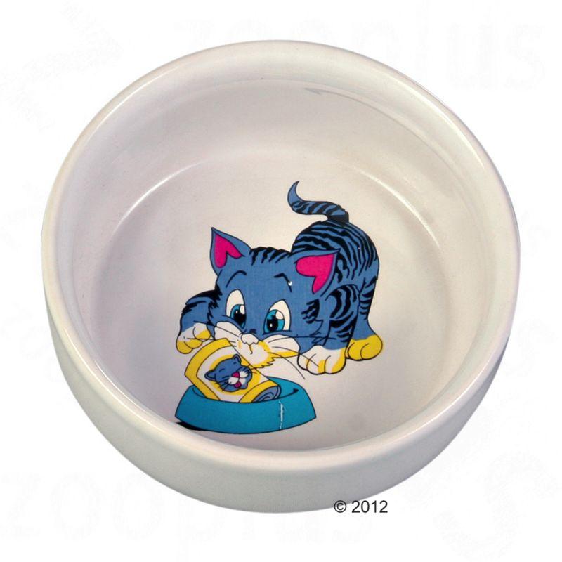 Ceramic Cat Bowl with Cartoon