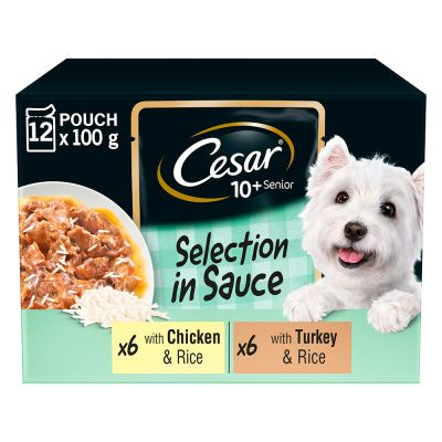 Cesar 10+ Senior Selection in Sauce Hondenvoer