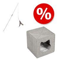 Combi Deal: Kattenhol uit Vilt voor Opbergkast + Kattenhengel Bird