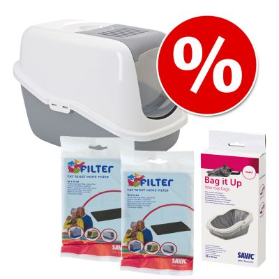 Combi Deal: Savic Kattenbak Nestor + 2 stuks vervangingsfilter + Savic Bag it Up Litter Tray Bags