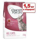 4,5 + 1,5 кг в подарок! Concept for Life сухой корм для кошек 2 x 3 кг
